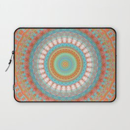 Turquoise Coral Mandala Design Laptop Sleeve