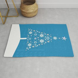 Christmas Tree Made Of Snowflakes On Cerulean Background Rug