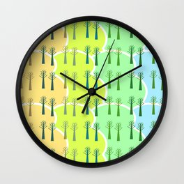 Trees and colorful clouds Wall Clock