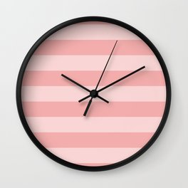 Large Blush Pink Glossy Cabana Tent Stripes Wall Clock