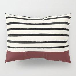 Dark Ruby & Stripes Pillow Sham