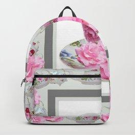 ABSTRACTEd PINK ROSE TEA TIME PORCELAIN ART Backpack