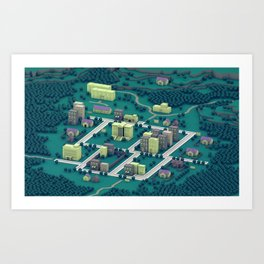 "EarthBound ""Onett"" (Night) Art Print"