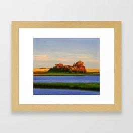 Orange Fall Intercoastal Tree Tops Painting Framed Art Print