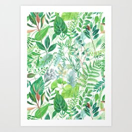 greenery watercolor pattern Art Print