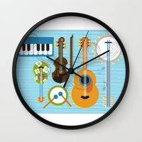 mortal instruments Wall Clocks featuring Simply Instruments by Paige Design, Inc.
