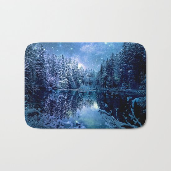 A Cold Winter's Night : Turquoise Teal Blue Winter Wonderland Bath Mat
