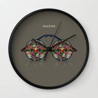 imagine Wall Clocks featuring iMAGINE by Deepti Munshaw