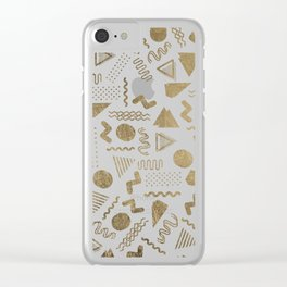 Retro abstract geometrical faux gold white 80'spattern Clear iPhone Case