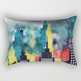 New York City Skyscrapers In Watercolor Art, Travel Digital Download, New York Poster, Wall Art Home Rectangular Pillow