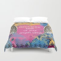 angel wings Duvet Covers featuring Angel Wings by Brooke LeAnne