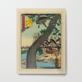 Nansuitei Yoshiyuki - 100 Views of Naniwa: Inari Shrine at Star Pond in Hirota (1880s) Metal Print