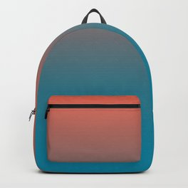 Pantone Living Coral & Barrier Reef Blue Gradient Ombre Blend Horizontal Line Backpack