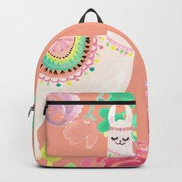 Llama in a floral frame Backpack