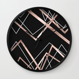Rose Gold Black Linear Triangle Abstract Pattern Wall Clock