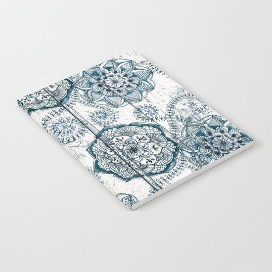 Navy Blue Floral Doodles on Wood Notebook