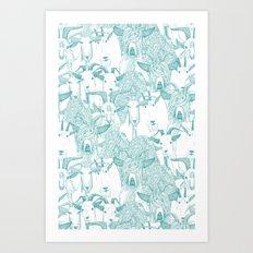 just goats teal Art Print