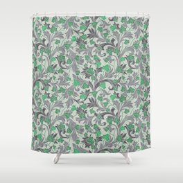 Green ivy with grey ornament on beige background Shower Curtain