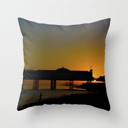 September Sunset at Brighton Pier Throw Pillow