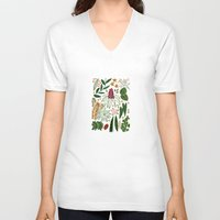 plants V-neck T-shirts featuring Plants by Roxanne Bee