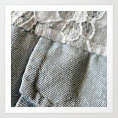 jean + lace Art Print