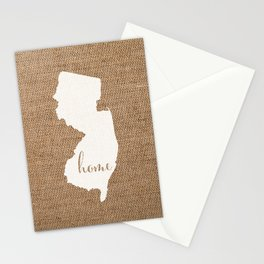 New Jersey is Home - White on Burlap Stationery Cards