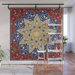 Ornate Baha'i ring stone symbol Wall Mural