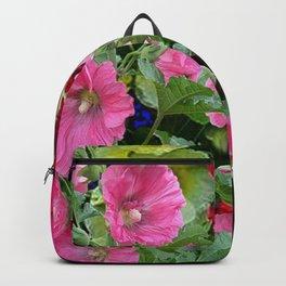 DECORATIVE PINK & RED GARDEN HOLLYHOCKS Backpack