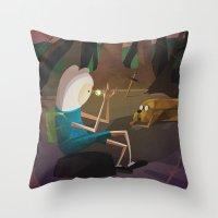 finn and jake Throw Pillows featuring Finn & Jake by modHero