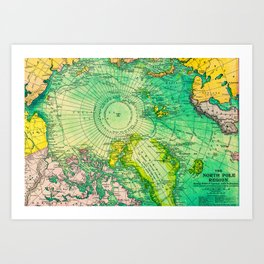Colorful Map of the North Pole - Vintage Art Print