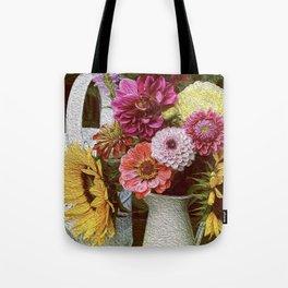 sunflower Helianthus annuus bouquet flowers oil painting still life art print Tote Bag