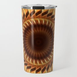 Brown Tan Gold Kaleidoscope Art 5 Travel Mug
