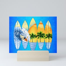Surfer And Surfboards Mini Art Print