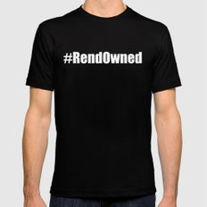 #RendOwned on White Mens Fitted Tee Black MEDIUM