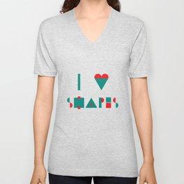 I heart Shapes Unisex V-Neck