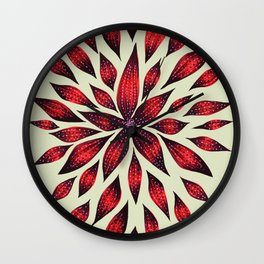 Abstract Red Flower Doodle Wall Clock