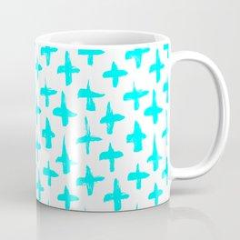 Aqua Blue plus signs brush strokes seamless pattern Coffee Mug
