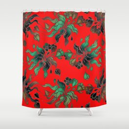 Vintage floral seamless pattern with hand drawn flowering crocus on the red background Shower Curtain