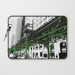 Chicago photography - Chicago EL art print in green black and white Laptop Sleeve