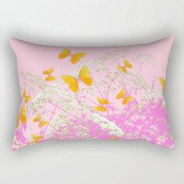 GOLDEN BUTTERFLIES IN PINK LACE GARDEN Rectangular Pillow