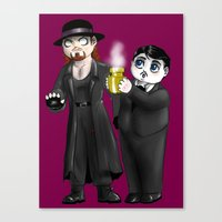 wwe Canvas Prints featuring Chibi WWE - Undertaker and Paul Bearer 1 by Furiarossa