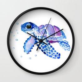 Blue Purple Sea Turtle, Turtle for nursery Wall Clock