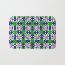 Islamic geometric star motif in green, blue and purple Bath Mat