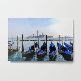 Row of Gondolas Venice Italy Metal Print