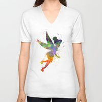tinker bell V-neck T-shirts featuring Tinker bell in watercolor by Paulrommer