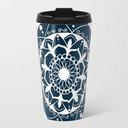 Zen white mandala on dark blue Travel Mug