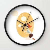 bubbles Wall Clocks featuring Bubbles by Zara Picken