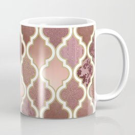 Rosegold Pink and Copper Moroccan Tile Pattern Coffee Mug
