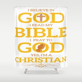 Funny Jesus Bible God Christian Quote Meme Gift Shower Curtain