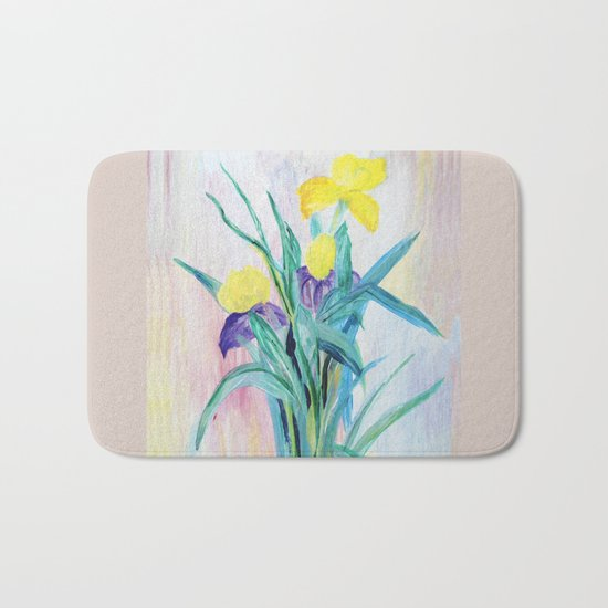 irises on pastel background Bath Mat